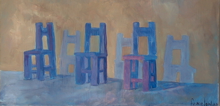 Three Blue Chairs on Brown